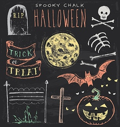 Vintage Chalkboard Halloween Hand Drawn Set vector