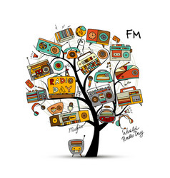 Vintage radio tree sketch for your design vector