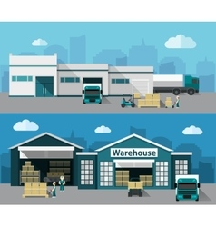 Warehouse Flat Banner Set vector image