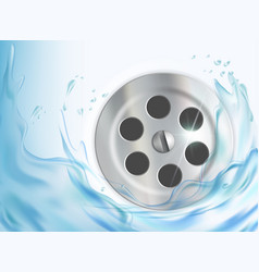 Water flows into drain hole in sink vector