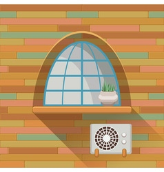 with a vintage window and air-conditioner on the vector image