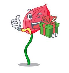 With gift anthurium flower pink in cartoon garden vector