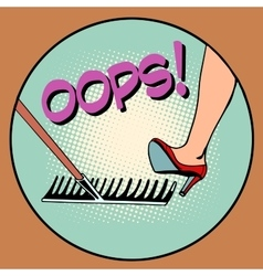 Woman step on the same rake vector