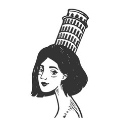 woman with tower of pisa engraving vector image