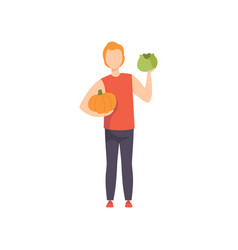 Young man holding pumpkin and cabbage guy doing vector