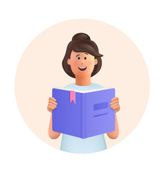 Young woman jane reading book studying vector