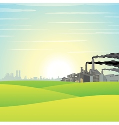 Chemical Factory on Green Meadow vector image vector image