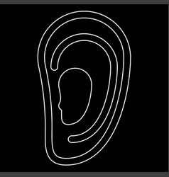 Ear the white path icon vector