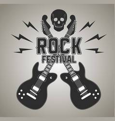 heavy metal or rock poster with guitar and skull vector image
