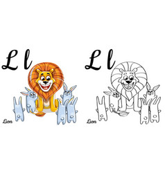 lion alphabet letter l coloring page vector image vector image