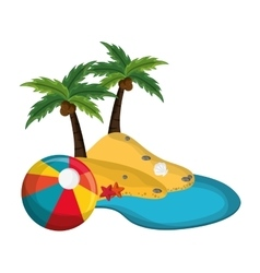 tropical island and beach ball icon vector image