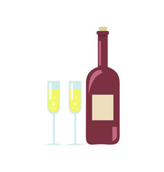 unopened wine and two glasses vector image