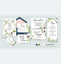 wedding invite menu rsvp thank you label save vector image vector image