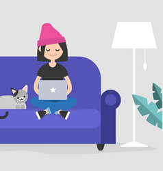 young female freelancer working at home flat vector image