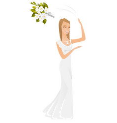 caucasian bride tossing the bouquet of flowers vector image