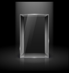 empty glass showcase with spot light for vector image