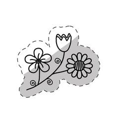 flowers decoration flora cut line vector image
