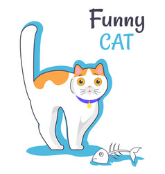 funny cat with fish bone vector image