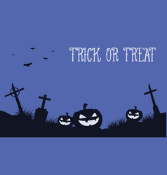halloween background with pumpkin in grave vector image