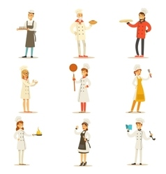 Professional Cooking Chefs Working In Restaurant vector image vector image