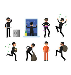 set of criminal characters isolate on white vector image vector image