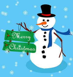 Snowman Christmas card-3 vector image