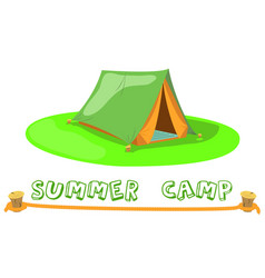summer camp tent on green lawn camp tent vector image vector image