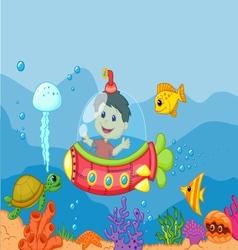 Cartoon a kids in the submarine vector