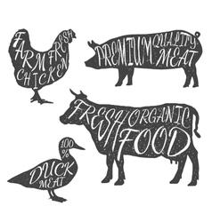 Farm animals icon set Chicken cow duck pig vector image vector image