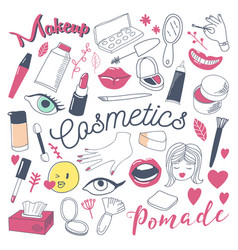 makeup and cosmetics beauty freehand doodle vector image