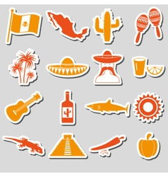 Mexico country theme symbols stickers set eps10 vector image