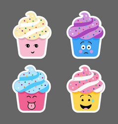 set of cupcake emojis icons vector image