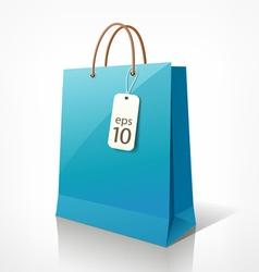 Shopping blue bag vector image