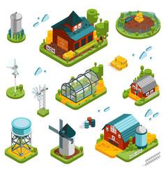 farm landscape elements set vector image vector image