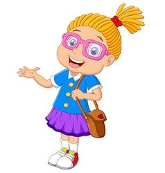 girl holding bag cartoon presenting vector image vector image