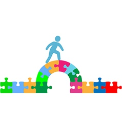 Person walking over puzzle bridge solution vector image vector image