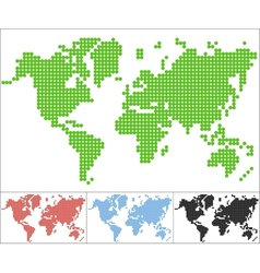 Set of dot world map vector image