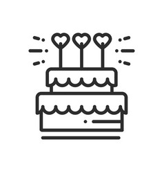 wedding cake with heart topper line icon wedding vector image