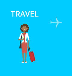 woman traveller with bag young african american vector image