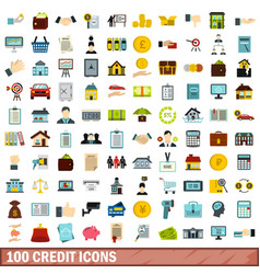 100 credit icons set flat style vector image