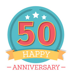 50 years anniversary emblem with ribbon stars vector
