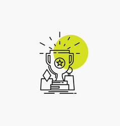 Achievement award cup prize trophy line icon vector