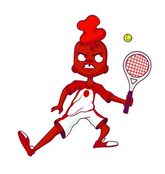 angry boy with a mohawk beats a ball with a vector image
