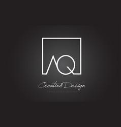 Aq square frame letter logo design with black vector