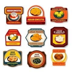 Asian sweets dishes set vector