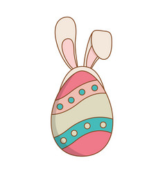 Beautitul egg painted with ears rabbit easter vector