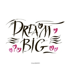 Big dream hand painted brush lettering vector image