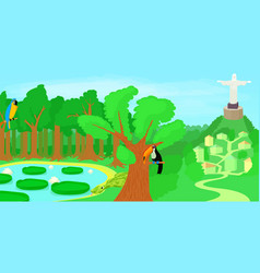 Brazil horizontal banner forest cartoon style vector