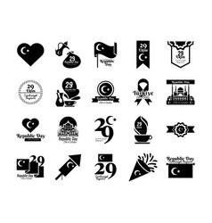 Bundle twenty set cumhuriyet bayrami silhouette vector