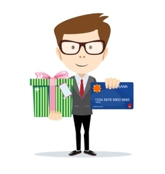 businessman with a credit card and gift vector image